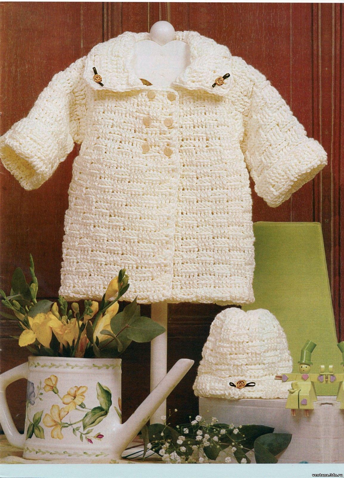 Вязание крючком пальто для девочек из травки 70