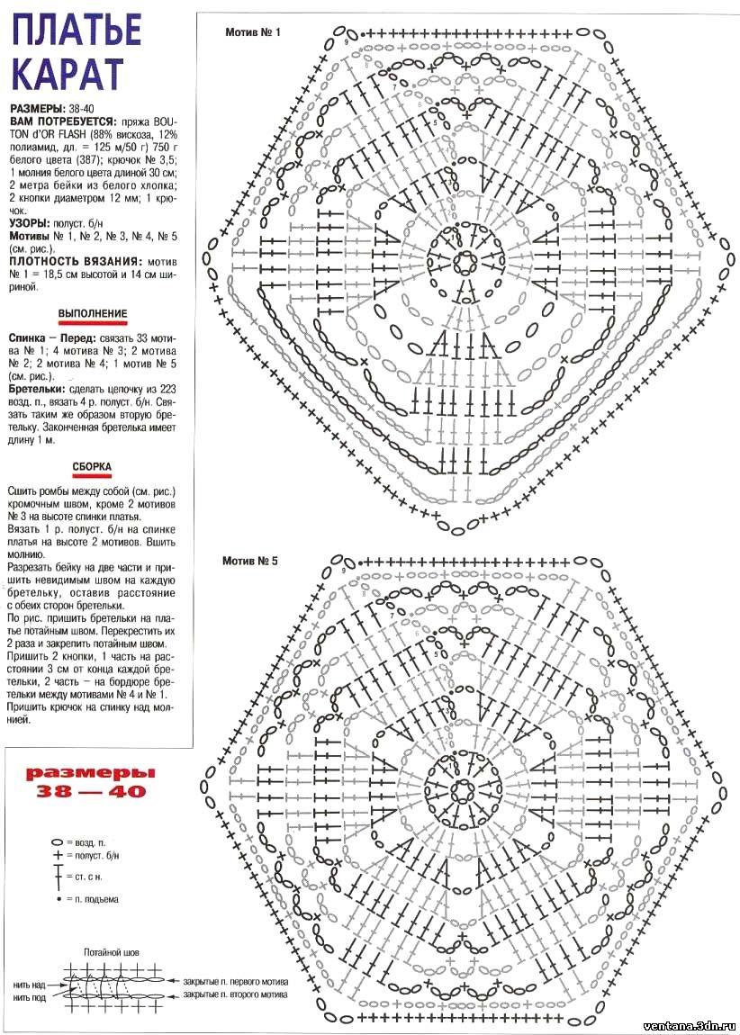 Юбки крючком схемы из мотивов крючком